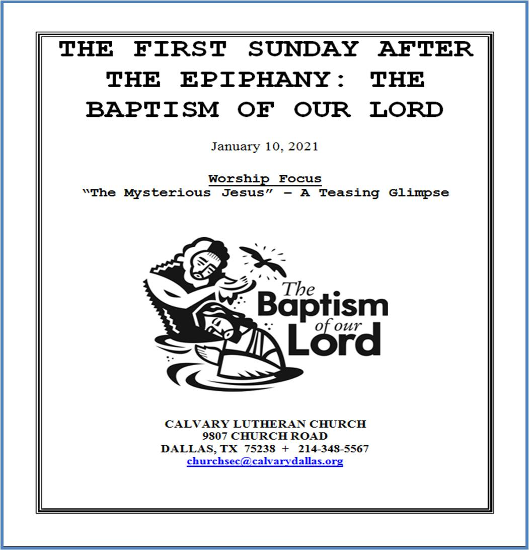 S.F.01.10.21.CS (full music and hymns) First Sunday after Epiphany Baptism of Jesus